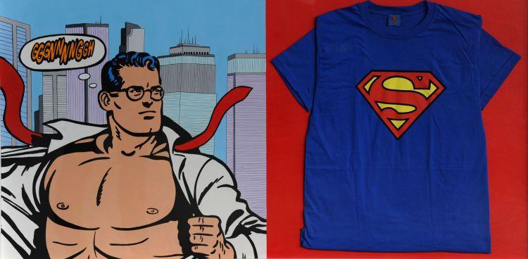 Sergio Cavallerin, Omaggio a Superman, 2011, acrilici su tavola, con applicazione di t-sirt in cotone, cm 70x140